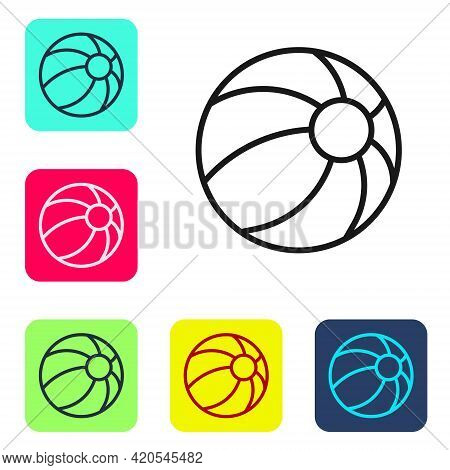 Black Line Beach Ball Icon Isolated On White Background. Children Toy. Set Icons In Color Square But