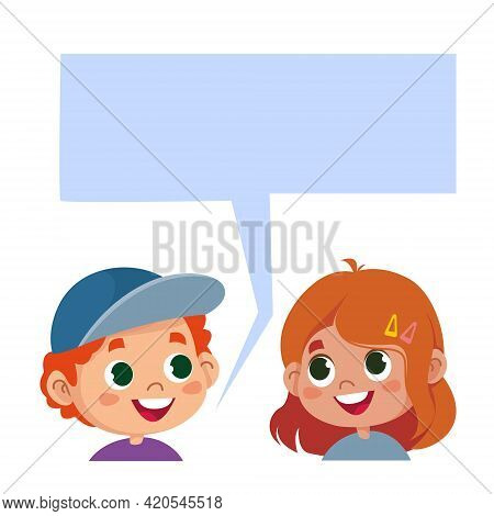 Children Talk. Children Heads And Cloud For Text. Cartoon Characters Are Talking. The Boy And The Gi
