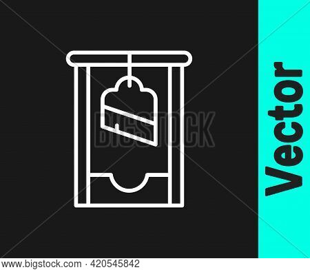 White Line Guillotine Medieval Execution Icon Isolated On Black Background. Vector