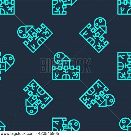Green Line Castle Icon Isolated Seamless Pattern On Blue Background. Medieval Fortress With A Tower.