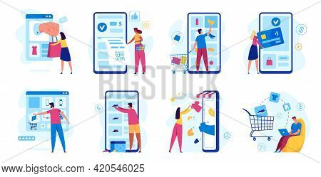 Online Shopping. Digital Payments With Smartphone. Customer Buying In Internet Store. Online Shop Ch