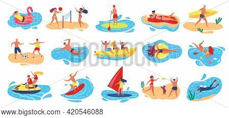 Beach Activities. Active Man And Woman Surfing, Windsurfing, Swimming, Scuba Diving. Summer Vacation