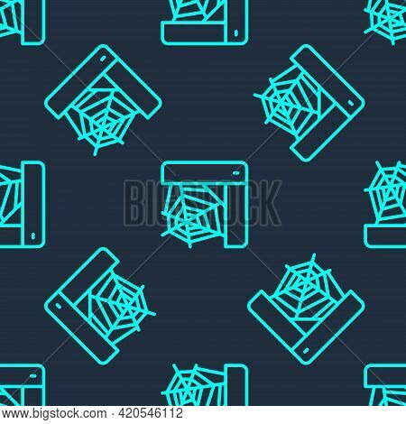 Green Line Spider Web Icon Isolated Seamless Pattern On Blue Background. Cobweb Sign. Happy Hallowee