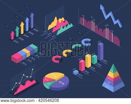 Isometric Infographics. Pie Chart, Circle Graph, Histogram, Pyramid Diagram, Growth Progress Bar. 3d