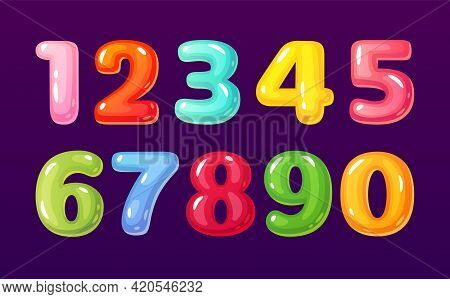 Cartoon Numbers. Cute Comic Bubble Alphabet Mathematical Symbols For Children. Colorful Candy, Jelly