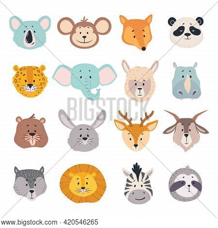 Animal Heads. Cartoon Faces Of Koala, Monkey And Fox, Zebra. Cute Panda, Deer And Lion, Deer And Rab