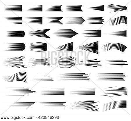 Speed Lines. Abstract Cartoon Comic Fast Motion Effect. Straight And Curved Speed Line Elements For