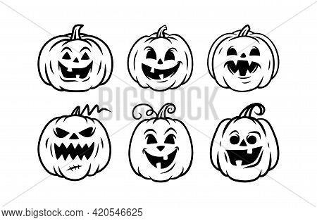 Halloween Pumpkin Icon Set, Jack O Lantern Icons, Halloween Pumpkin Faces. Vector Illustration