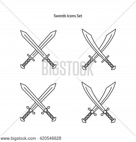 Sword Icons Set Isolated On White Background. Sword Icon Thin Line Outline Linear Sword Symbol For L