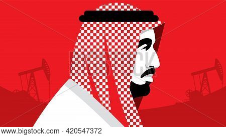 Arab Business Man Wearing Uae Traditional Dress. Red Background With Oil Pumps. Male Portrait, Side