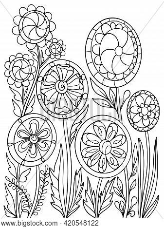 Flowers Plants Coloring Book Vector Illustration Nature Sketch Doodle Hand Drawing For Kids And Adul