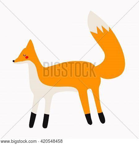 A Hand-drawn Fox. Fox In The Scandinavian Style, Children's Illustration