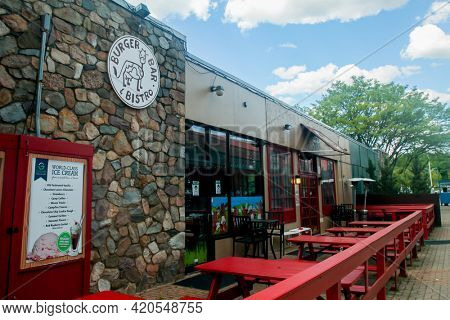 NORWALK, CT, USA - MAY 14, 2021: Burger Bar and Bistro  restaurant in downtown