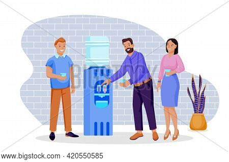 Colleagues Talking And Drinking Water. Vector Illustration. Group Of People Stands Near Water Cooler