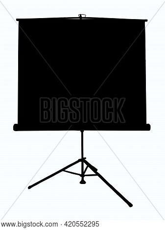 Outline Illustration Of A Projector Screen On A Tripod On An Isolated White Background. There Is A P