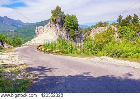 Balkan Road Trip. Beautiful Summer Mountain Landscape With Country Road. Montenegro. National Park L