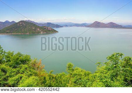 View Of Coast Of Lake Skadar  On Sunny Spring Day. National Park Lake Skadar, Montenegro