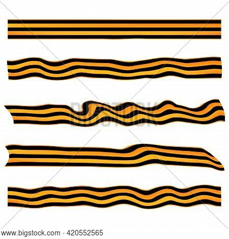 Set Of St. George Ribbon Flat Isolated On White Background. Ribbon Banner Vector Illustration. Symbo