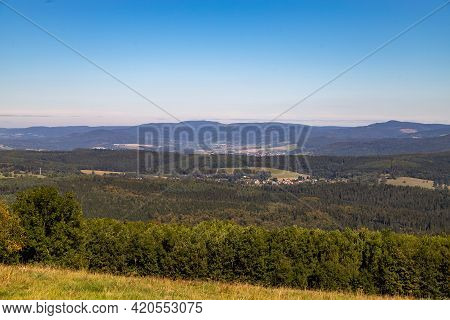 Scenic View On Thuringian Forest  From The Mountain Dolmar In Thuringia