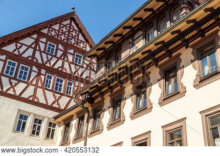 Historic Half-timbered House Called Henneberger Haus In Meiningen, Thuringia
