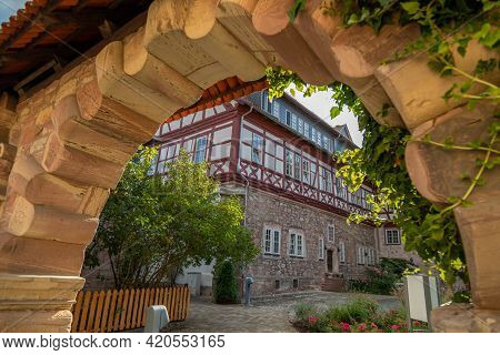 View Through An Archway To A Historic Half-timbered House In Wasungen, Thuringia