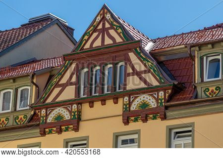 Gable Of A Half-timbered House With Colorful Decorations In Meiningen, Thuringia