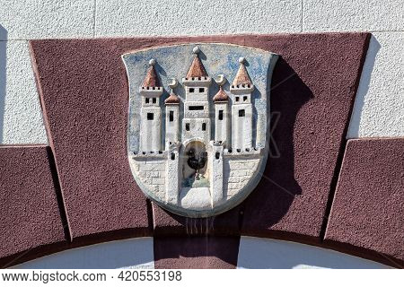 Stone Coat Of Arms Of The City Of Meiningen In Thuringia At Elisabethenburg Castle