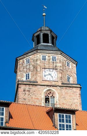 Historic Tower With Clock In The City Wasungen, Thuringia