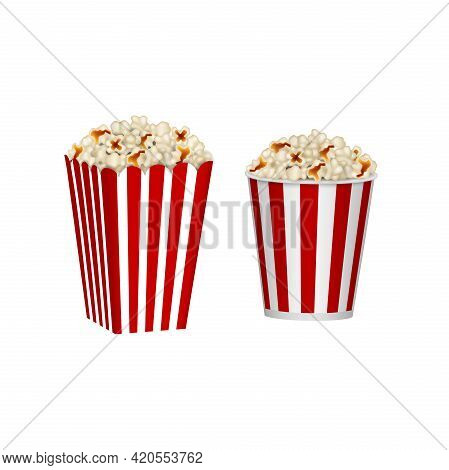 Isolated Cardboard Containers Of Popcorn. Red And White Striped Popcorn Buckets