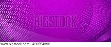 Abstract Background Of Straight And Wavy Intersecting Lines In Purple Colors