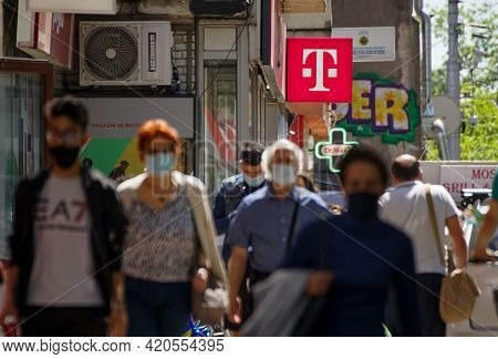 Bucharest, Romania -  May 12, 2021: A Logo Of Telekom, German Telecommunications Company, Is Display