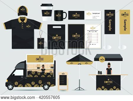 Illustration: Concept For Coffee Shop And Restaurant Identity Mock Up Template. Corporate Identity T