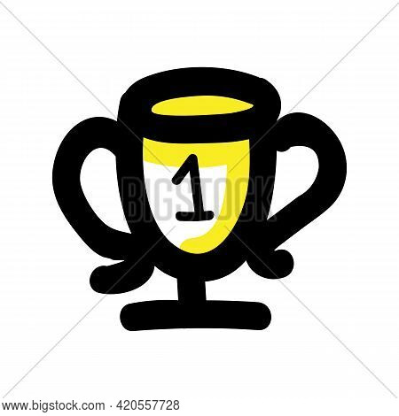 Hand Drawn First Place Trophy. Concept Prize Winner Competition. Simple Icon Motif For Pictogram Con