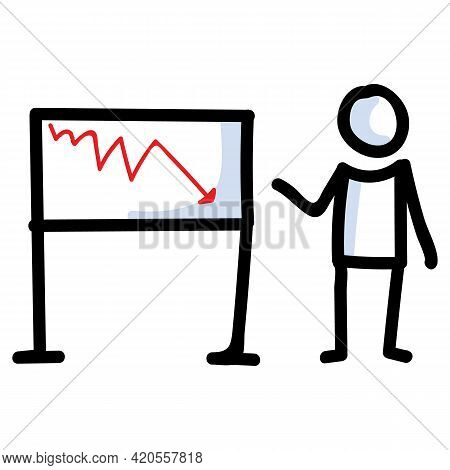Hand Drawn Stick Figure Business Loss Chart. Concept Of Finance Report Expression. Simple Incon Moti
