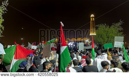 Doha,qatar- May 16, 2021- Campaign Protesters At The Imam Muhammad Bin Abdul Wahhab Mosque For A Sol