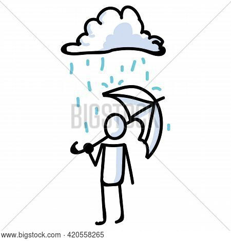 Hand Drawn Stick Figure With Umbrella Standing In Rain. Concept Of Storm Shelter Expression. Simple
