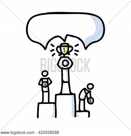 Hand Drawn Stick Figure Champion Podium. Concept Prize Winner Competition. Simple Icon Motif For Pic