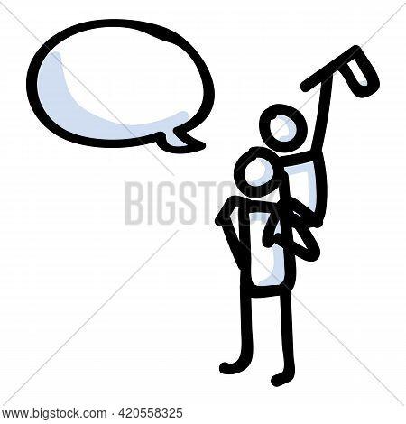Piggyback Ride Vector Illustration. Hand Drawn Communication Of Flag Teamwork Graphic Design. Stick