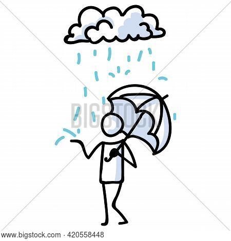 Hand Drawn Stick Figure With Umbrella In Rain. Concept Of Storm Shelter Expression. Simple Icon Moti