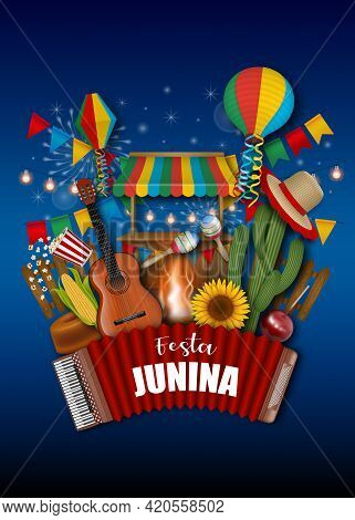 Festa Junina Poster. Brazilian June Festival Background With Colorful Pennants, Lanterns And Other E