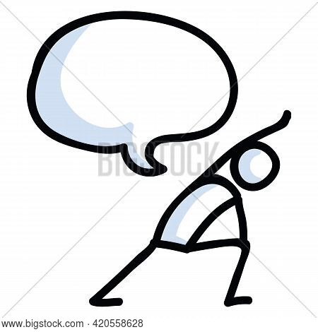 Hand Drawn Stick Figure Lunge Yoga Pose. Concept Of Stretching Exercise For Wellness Illustration. S