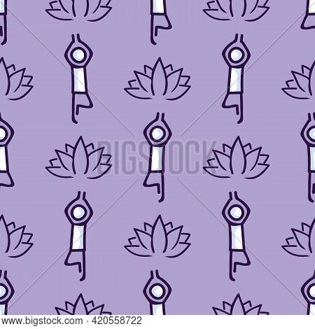 Stick Figure Tree Yoga Pose With Lotus Flower Seamless Vector Pattern. Hand Drawn Peace Zen And Well