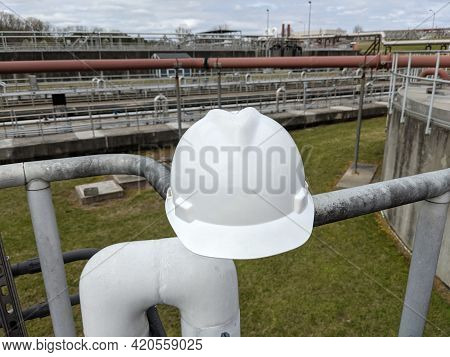 Closeup Of A Hard Hat At Industrial Plant