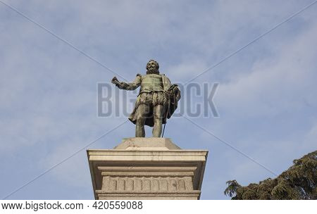 Spain, Madrid - March 6th, 2021: Miguel De Cervantes Saavedra Statue. Erected In Front Of The Spanis