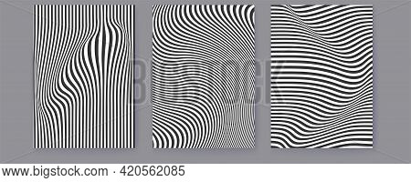 Set Of Covers With Wavy Lines. Abstract Minimalistic Patterns On Posters. Black And White Pattern. V