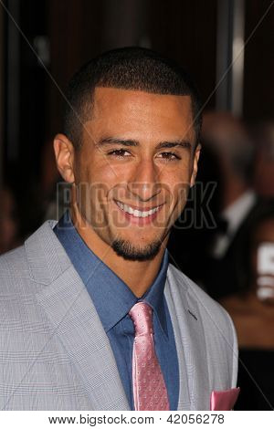 LOS ANGELES - FEB 9:  Colin Kaepernick arrives at the Clive Davis 2013 Pre-GRAMMY Gala at the Beverly Hilton Hotel on February 9, 2013 in Beverly Hills, CA