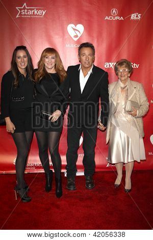 LOS ANGELES - FEB 8:  Jessica Springsteen, Patti Scialfa, Bruce Springsteen, Adele Springsteen arrive at the 2013 MusiCares Person Of The Year Gala  at the LACC on February 8, 2013 in Los Angeles, CA