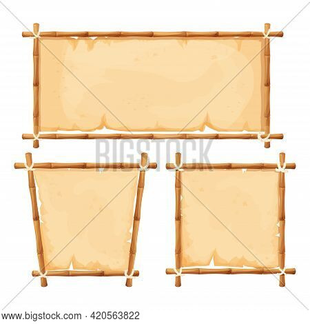 Set Hawaiian Bamboo Frames With Parchment Different Shapes In Cartoon Style Isolated On White Backgr