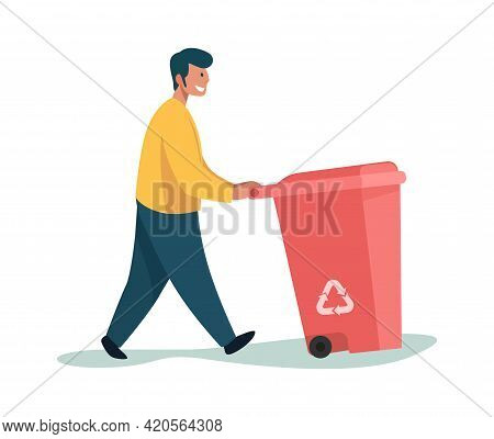 Garbage Man. Cartoon Male Carrying Trash Can. Person Walking With Plastic Container For Litter. Char