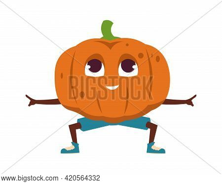 Cartoon Vegetables Exercises. Cute Orange Pumpkin Character Stands In Yoga Asana. Funny Food Mascot
